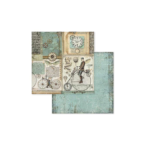 "(Pre Order) Stamperia - Double-Sided Cardstock 12""X12"" - Voyages Fantastiques Retro Bicycle"
