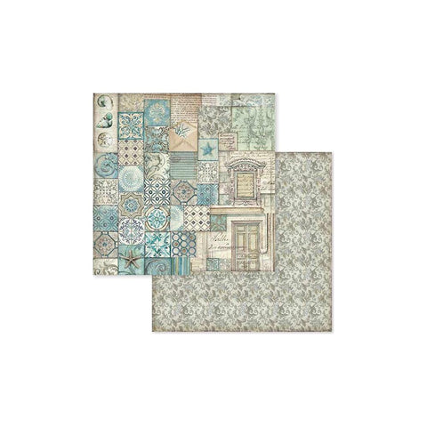 "(Pre Order) Stamperia - Double-Sided Cardstock 12""X12"" - Azulejo Patchwork"