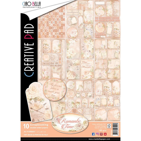 (Pre Order) Ciao Bella - Romantic Time Double-Sided Paper Pack 90lb A4 10/Pkg - Romantic Time, 10 Designs/1 Each