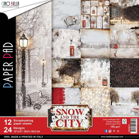 "(Pre Order) Ciao Bella - Snow & The City Double-Sided Paper Pack 90lb 12""X12"" 12/Pkg - Snow & The City, 12 Designs/1 Each"
