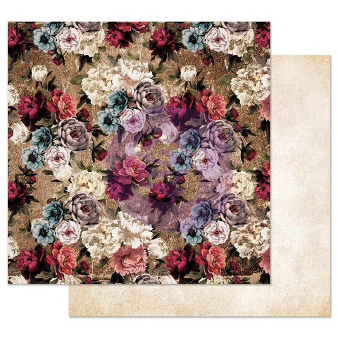 "(Pre Order)  Prima Marketing - Midnight Garden Foiled Double-Sided Cardstock 12""X12"" - More Roses Please"
