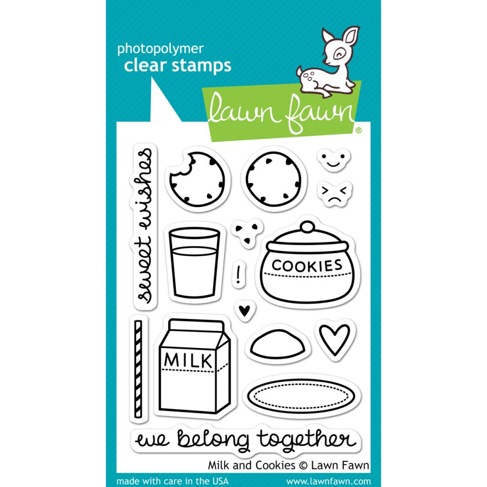 "Lawn Fawn - 3"" x 4"" Clear Stamp Set - Milk and Cookies"