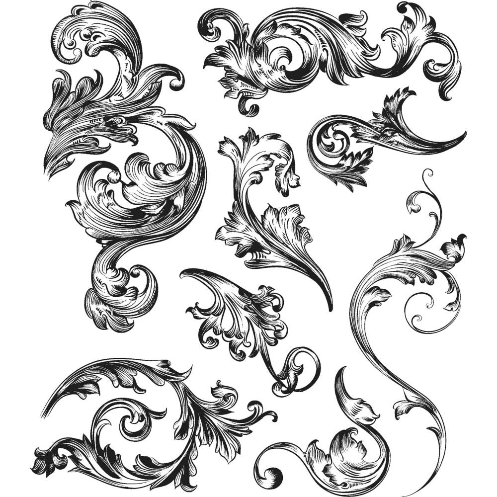Stampers Anonymous - Tim Holtz - Cling Stamps - Scrollwork