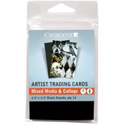 "Crescent Artist Trading Cards 2.5""X3.5"" 10/Pkg - Mixed Media & Collage - Black Boards"
