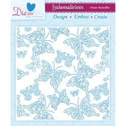 "Die'sire Embossalicious Collection 6"" x 6"" Embossing Folder - Ornate Butterflies"