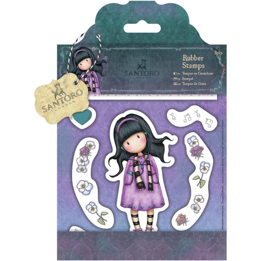 Santoro's Gorjuss Rubber Stamps 8/pkg - Little Song