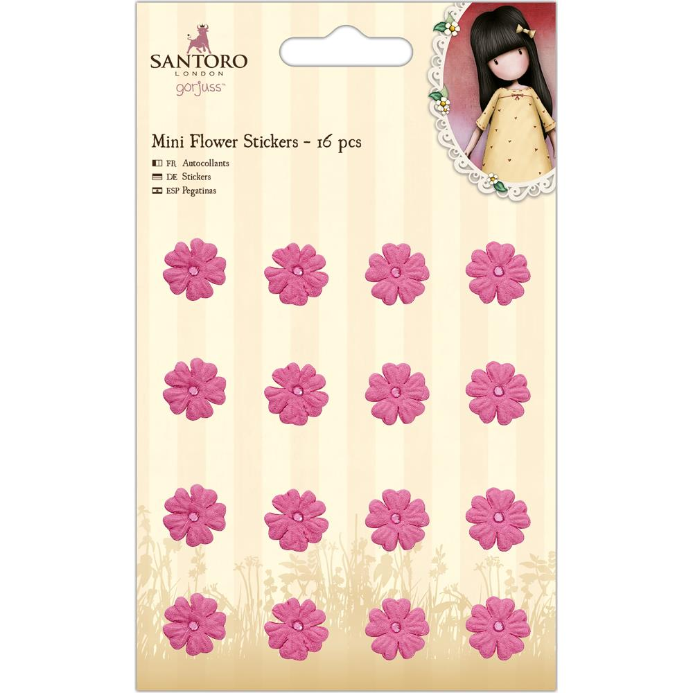 Docrafts Santoro Gorjuss - Mini Flower Stickers 16/pkg - Pink