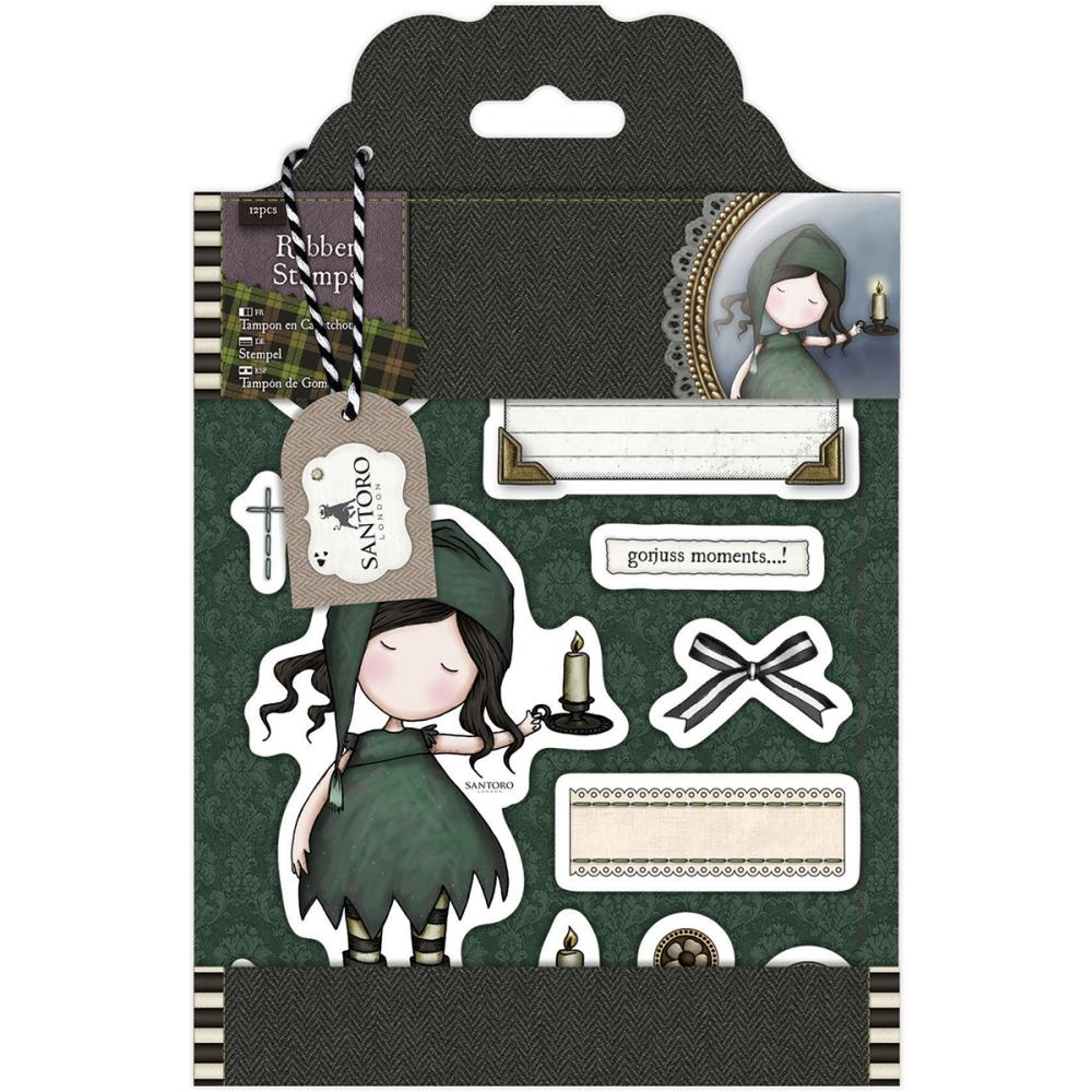 Santoro's Gorjuss Tweed Rubber Stamps 12/pkg - Nighlight