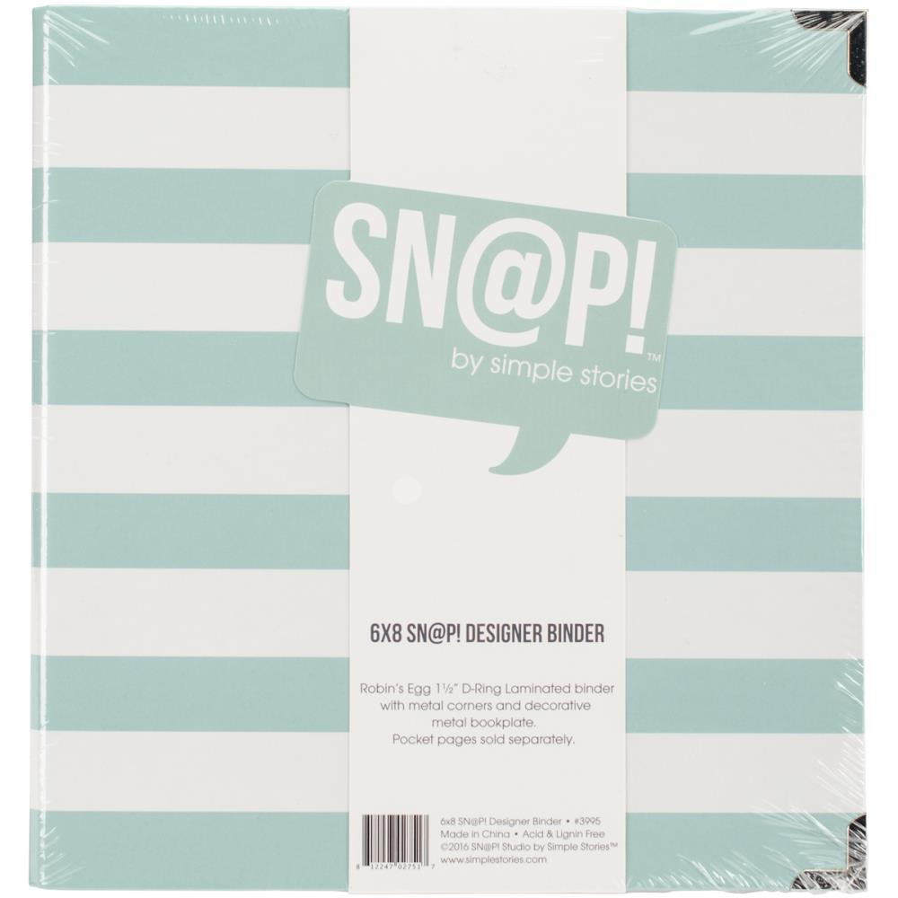 "Simple Stories - 6"" x 8"" Designer Snap Binder - Robin's Egg Stripe"