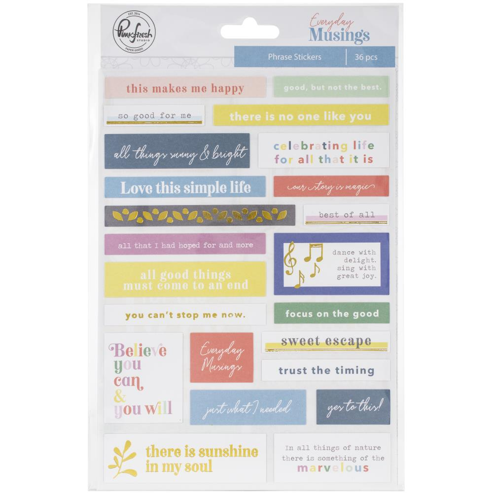 "Pinkfresh - Phrase Stickers 5""X8"" 36/pkg - Everyday Musings"