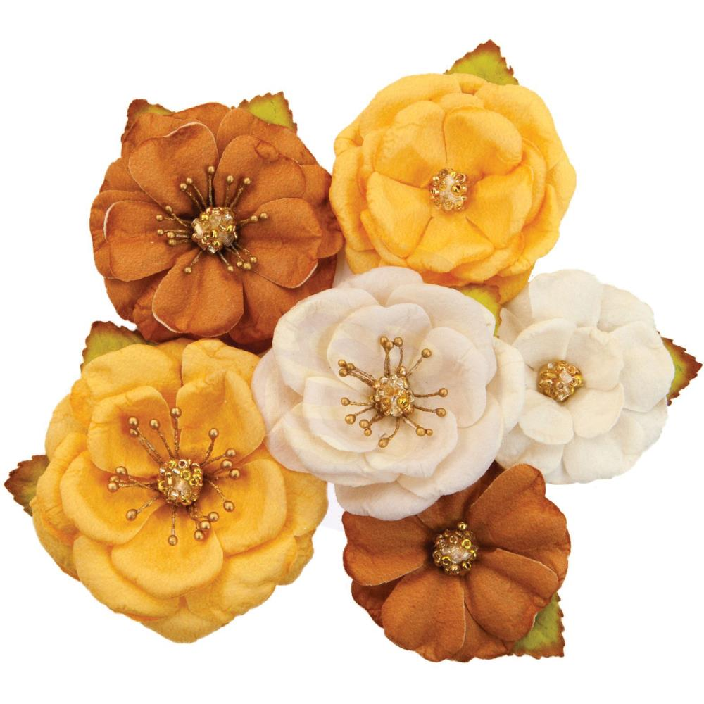 Prima Marketing - Mulberry Paper Flowers 6/Pkg - Autumn Sunset