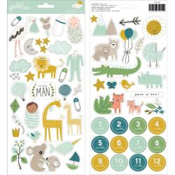 "Pebbles - Peek-A-Boo You Cardstock Stickers 6""X12"" 60/Pkg Icons, Boy W/Glitter Accents"
