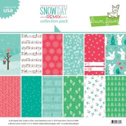 "Lawn Fawn Double-Sided Collection Pack 12""X12"" 12/Pkg Snow Day Remix 6 Designs/2 Each"