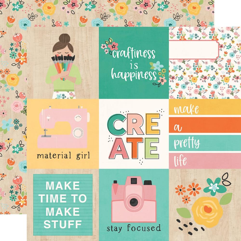 "Simple Stories - Double-Sided Cardstock 12""x12"" - Hey Crafty Girl - 4""x4"" Elements"
