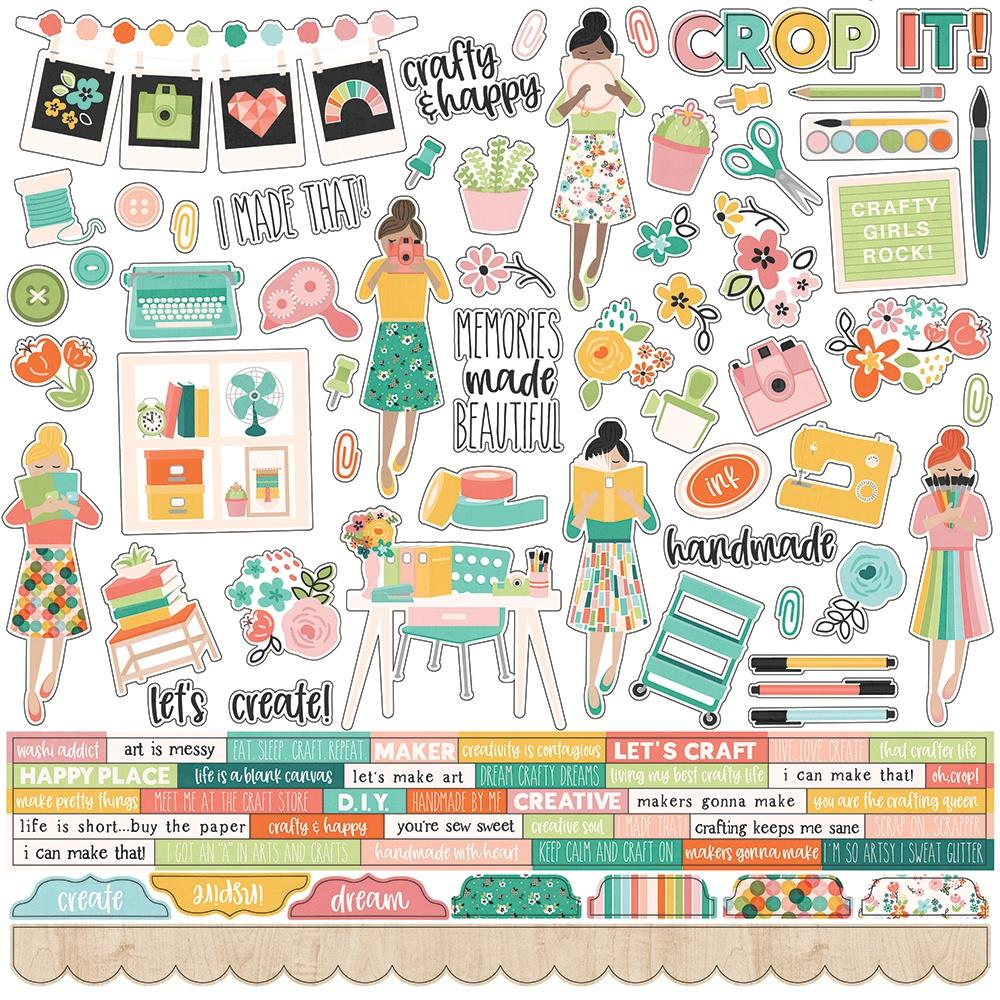 "Simple Stories - 12""x12"" Combo Stickers - Hey Crafty Girl"