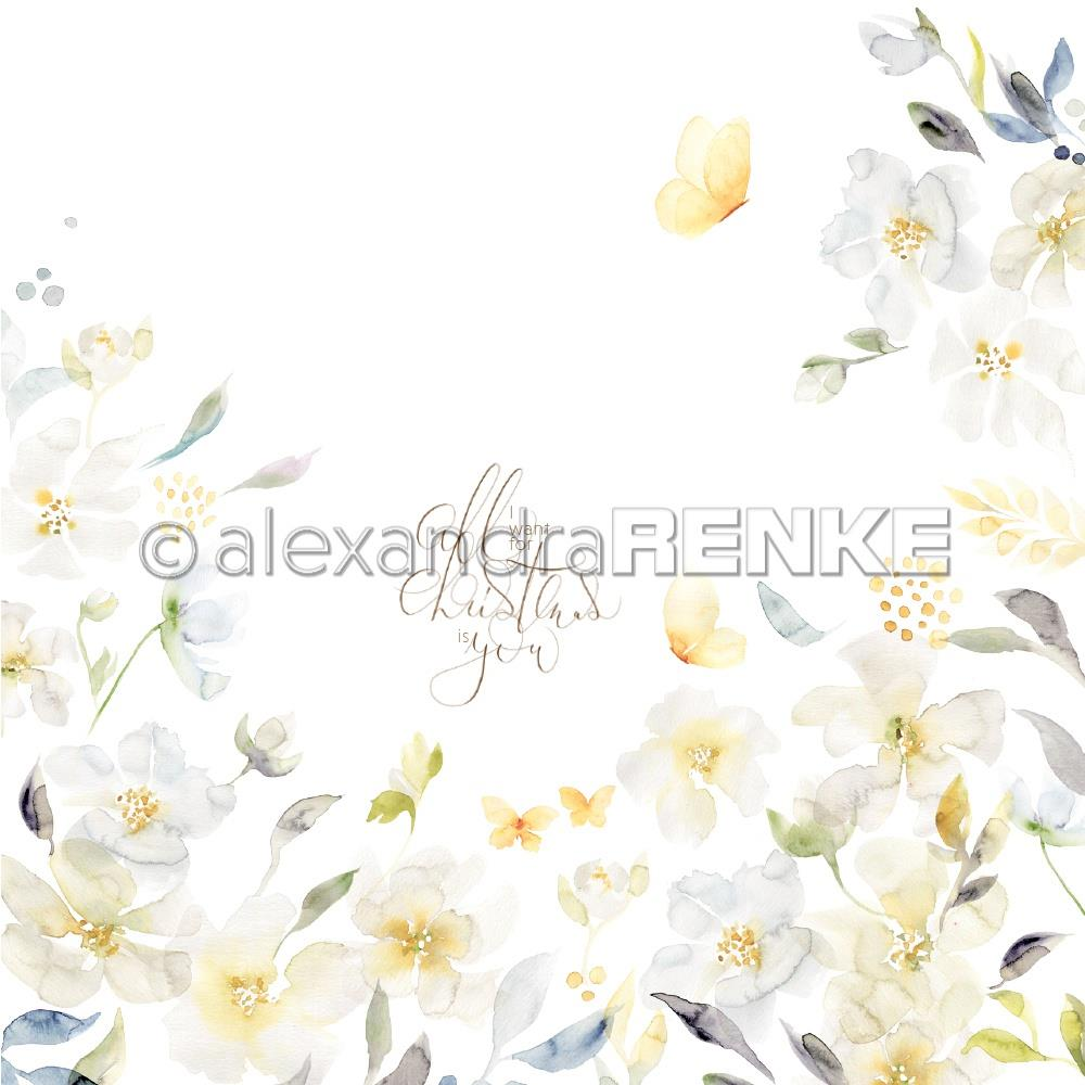 "Alexandra Renke Christmas Floral Design Paper 12""X12"" - Yellow Magnolia"