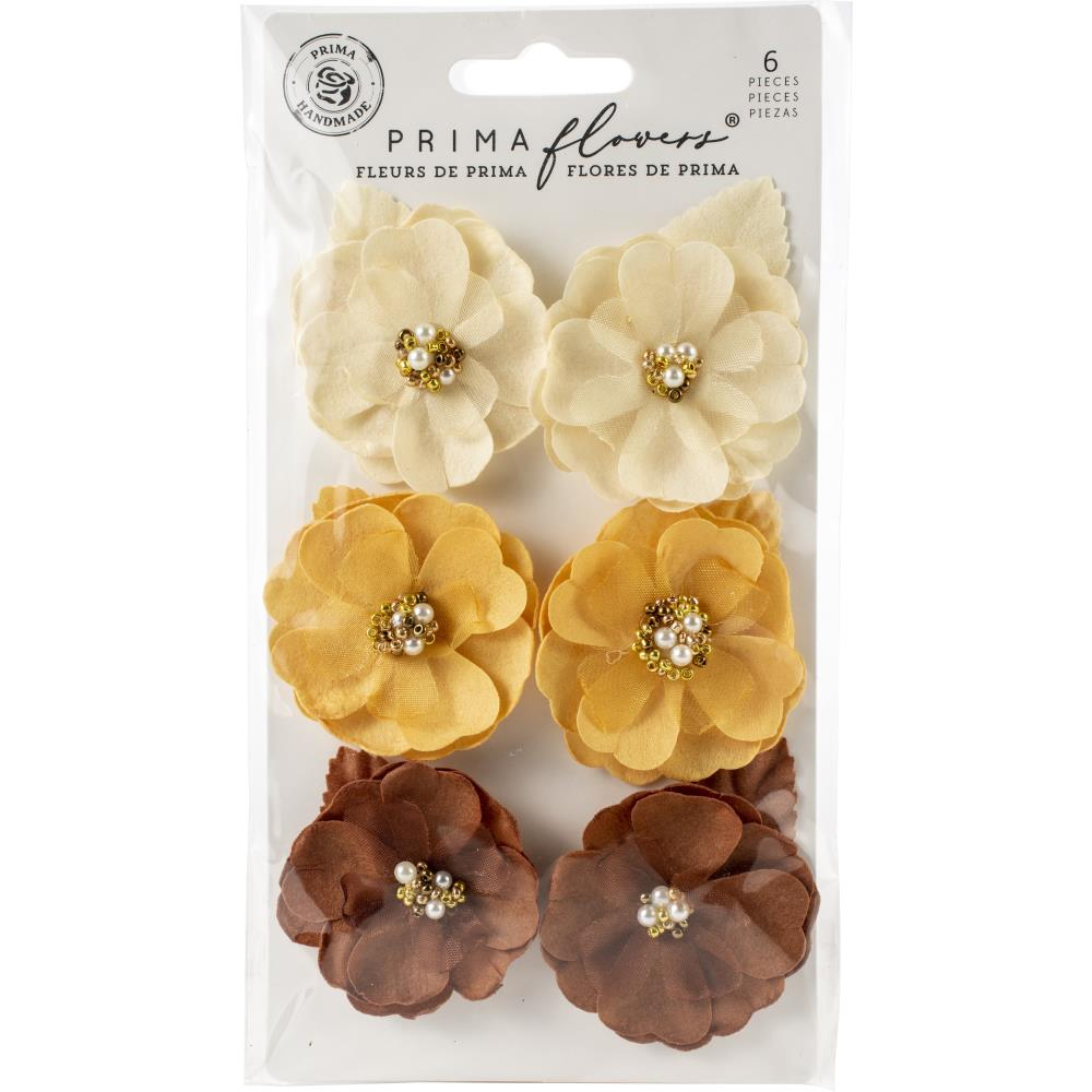 Prima Marketing - Mulberry Paper Flowers 6/Pkg - Autumn Equinox/Sunset