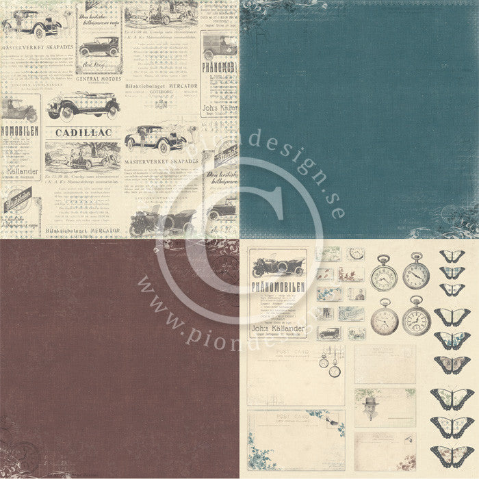 "Pion Designs Paper - For Father 6"" x 6"" Designs (4 designs on 12"" x 12"" papers) - Old Cars"