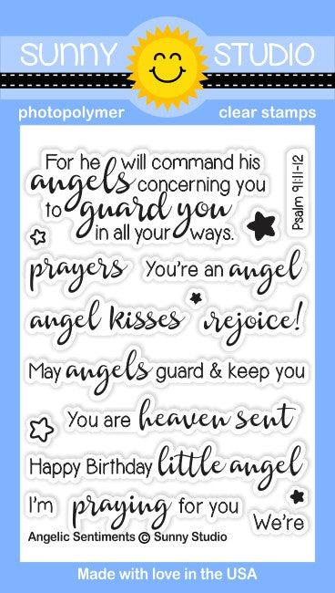 "Sunny Studio - 3"" x 4"" Photopolymer Clear Stamp Set - Angelic Sentiment"