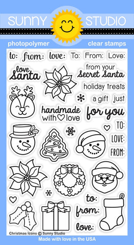 "Sunny Studio - 4"" x 6"" Photopolymer Clear Stamp Set - Christmas Icons (coordinates with Christmas Icons Dies)"