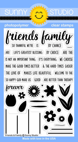 "Sunny Studio - 4"" x 6"" Photopolymer Clear Stamp Set - Friends & Family (coordinates with Friends & Family Flower Dies)"