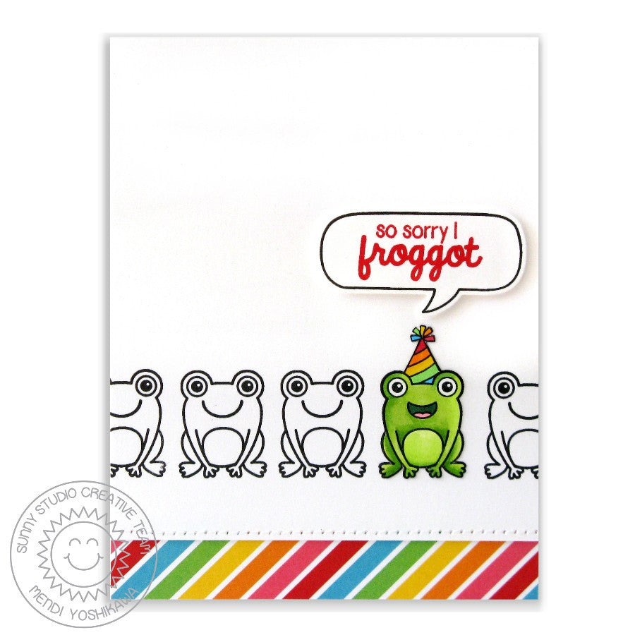 "Sunny Studio - 4"" x 6"" Photopolymer Clear Stamp Set - Froggy Friends (coordinates with Froggy Friends Dies)"