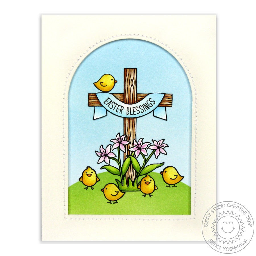 "Sunny Studio - 4"" x 6"" Photopolymer Clear Stamp Set - Easter Wishes (coordinates with Easter Wishes Dies)"