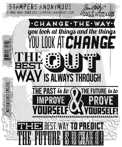 Stampers Anonymous - Tim Holtz Cling Stamps - Motivation 2