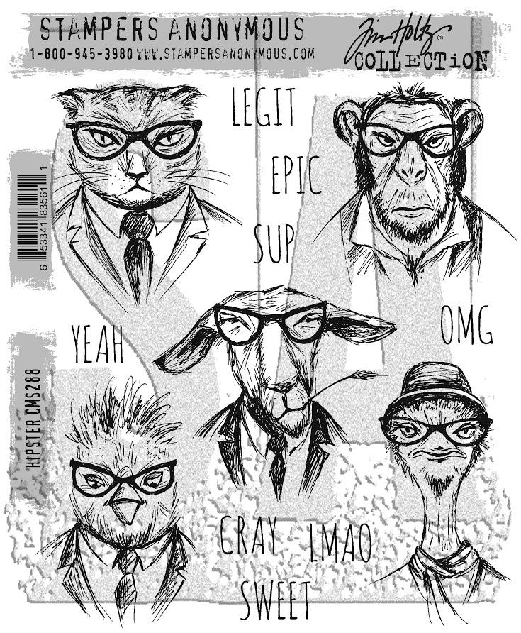 Stampers Anonymous - Tim Holtz Cling Stamps - Hipster