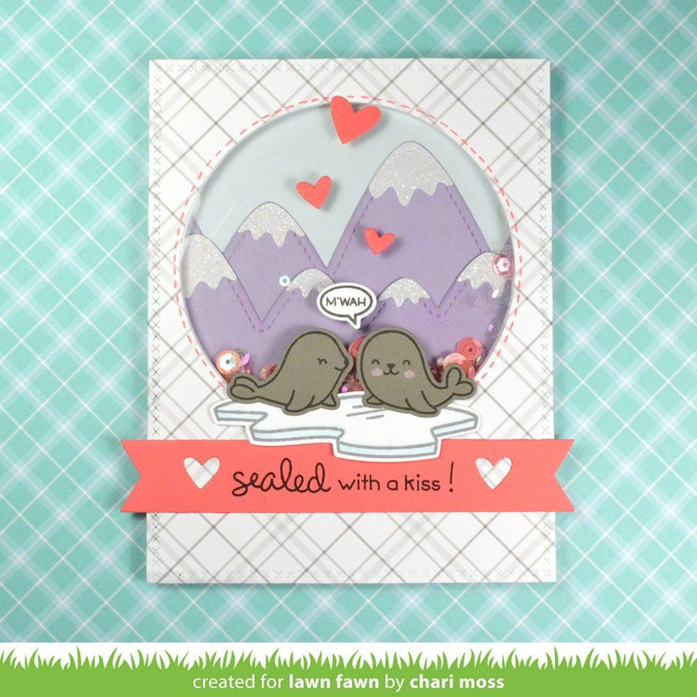 "Lawn Fawn - 2""x3"" Clear Stamp Set - Sealed With A Kiss"