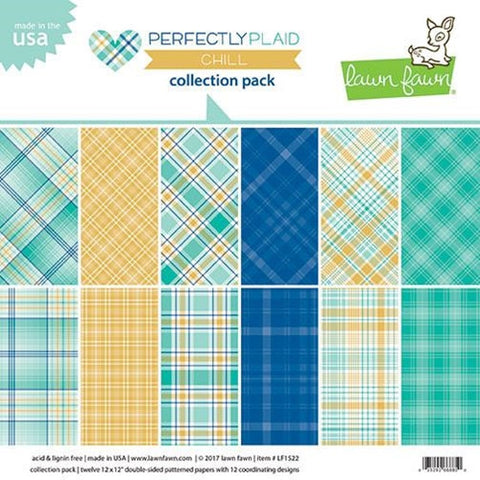 "Lawn Fawn - Perfectly Plaid Chill Collection Pack - 12"" x 12"" 6 Designs/2 Each"