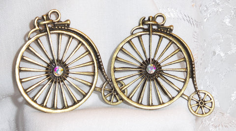 Penny Farthing Vintage Antique Brass Bicycles with AB Gems (2/pcs)