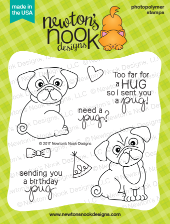 "Newton's Nook Designs - 4"" x 4"" Stamp Set - Pug Hugs (coordinates with Pug Hugs Dies)"