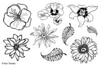 "Designs by Ryn Unmounted Red Rubber Stamp Sheet 8.5"" x 5.5"" - Flowers"