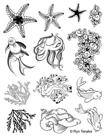 "Designs by Ryn Unmounted Red Rubber Stamp Sheet 8.5"" x 11"" - Sea Creatures 2"