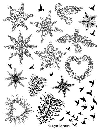 "Designs by Ryn Unmounted Red Rubber Stamp Sheet 8.5"" x 11"" - Winter"