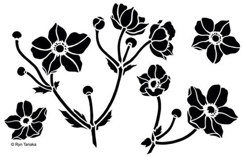 "Designs by Ryn Stencils 6"" x 9"" - Japanese Anemone"