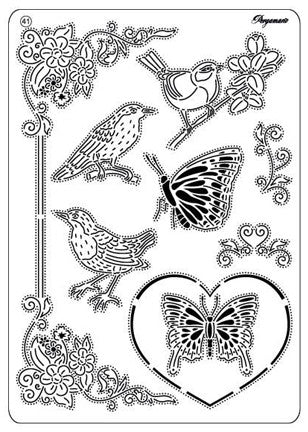 Pergamano -  Multi Grid #41 - Birds and Butterflies