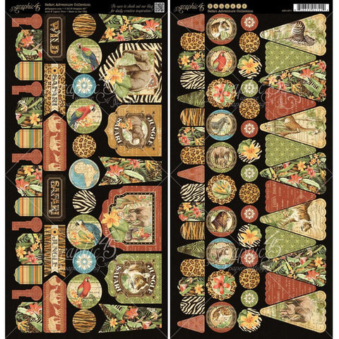 "***New Item*** Graphic 45 - Safari Adventure Cardstock Die-Cuts 6""X12"" Sheets 2/Pkg - Banners"