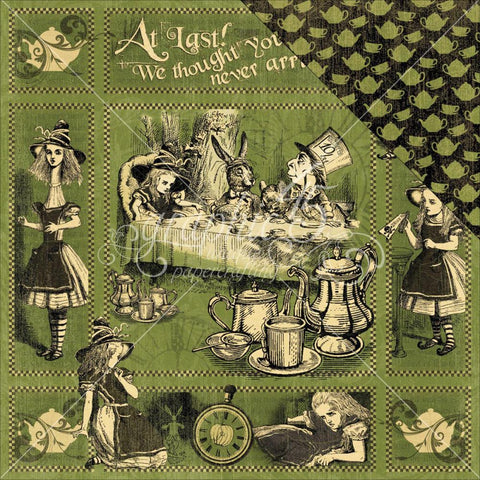 "Graphic 45 - Hallowe'en In Wonderland Double-Sided Cardstock 12""X12"" - Alice's Tea Party"