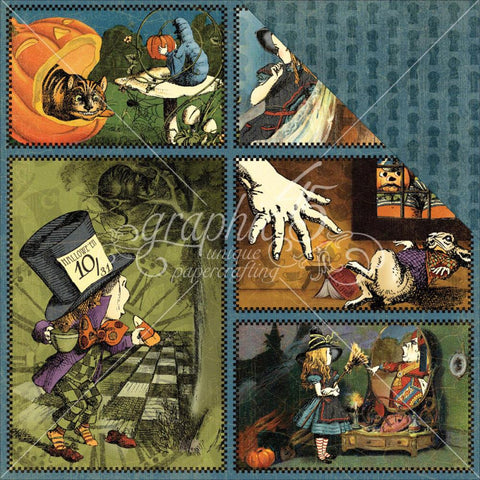 "***New Item*** Graphic 45 - Hallowe'en In Wonderland Double-Sided Cardstock 12""X12"" - Through The Looking Glass"