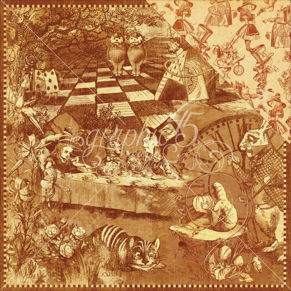 "Graphic 45 - Hallowe'en In Wonderland Double-Sided Cardstock 12""X12"" - Curiouser & Curiouser"