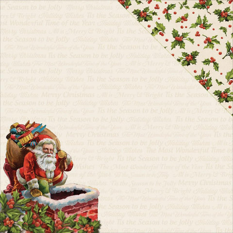 "Kaisercraft - Silent Night Double-Sided Cardstock 12"" x 12"" - Down The Chimney"