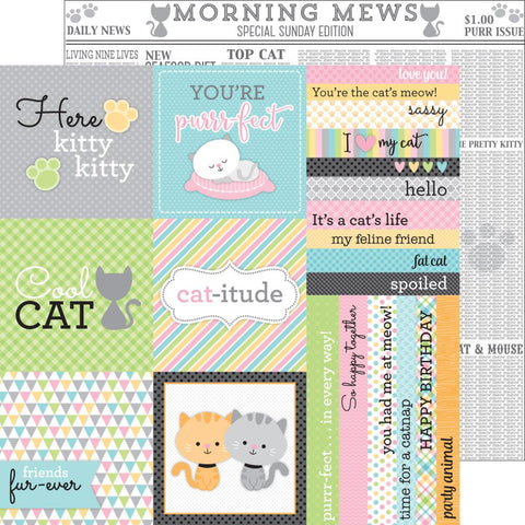 "***New Item*** Doodlebug - Kitten Smitten Double-Sided Cardstock 12"" x 12"" - Morning Mews"