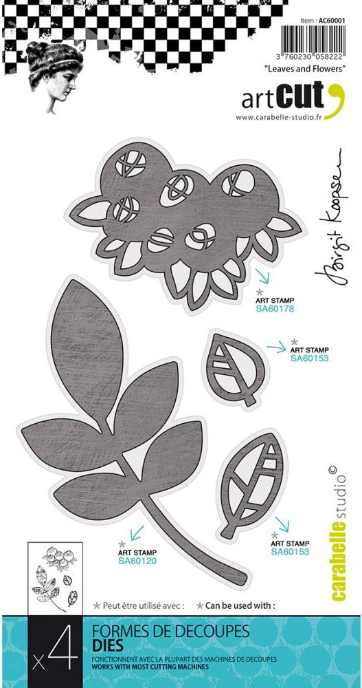 Carabelle Studio - Carabelle Art Cut Die - Leaves And Flowers, 4/Pkg