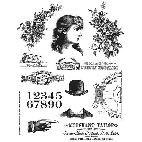 Stampers Anonymous - Tim Holtz Cling Stamps - Ladies & Gentlemen