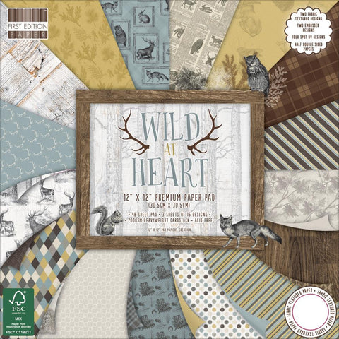 "***New Item*** First Edition - Premium Paper Pad 12"" x 12"" 48/Pkg - Wild At Heart"