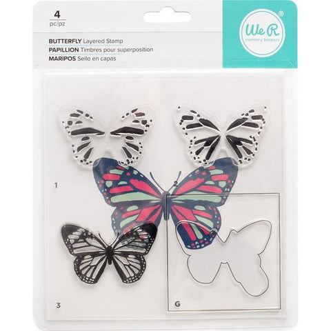 We R Memory Keepers, Layered Stamps - Butterfly