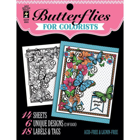 "Hot Off The Press, Colorist Coloring Book 5""X6"" - Butterflies"