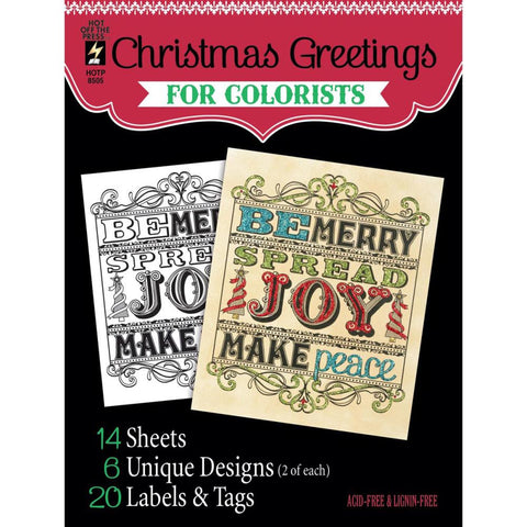 "Hot Off The Press, Colorist Coloring Book 5""X6"" - Christmas Greetings"